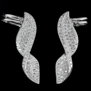 28X8 MM TWINKLING WHITE CUBIC ZIRCONIA ROUND STERLING 925 SILVER EARRINGS ChunKY