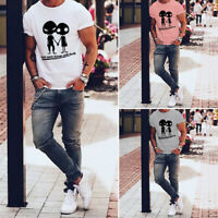 Mens T-shirt Polyester Short Sleeve Tee Tops Crew Neck Print Alien Summer Casual