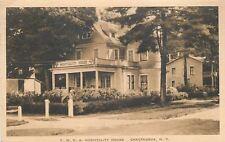 Chautauqua New York~Lady on Porch of YWCA Hospitality House~Sepia Postcard 1928