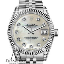 Woman's Rolex 26mm Datejust Stainless Steel White MOP Mother Of Pearl Diamond