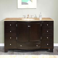 "55"" 0703TR - Travertine Top Bathroom Single Vanity White Sink Lavatory Cabinet"