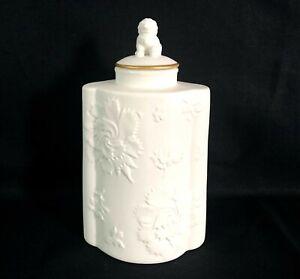 Vintage Bisque Porcelain Decorative Bottle/Jar with Lid, Raised Floral Pattern