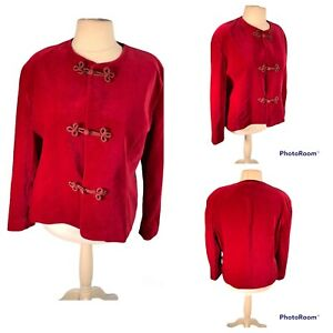 Ladies Red Jacket Size 20 EASTEX Velvet Brocade Fastenings Lined Cruise Party