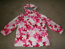 LANDS END Girls Pink Camo Camouflage Raincoat Jacket Medium XS X-Small 4-5