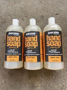 Everyone EO HAND SOAP REFILL APRICOT & CITRUS NATURAL 32 OZ Jumbo Size Lot Of 3
