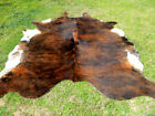 NEW LARGE BRINDLE BROWN Cowhide Rug natural Cowhides Cow Hide Skin 6X6 FEET RRS.