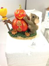 Retired Charming Tails Building A Pumpkin Man 85/103 Fitz And Floyd Vintage Mib