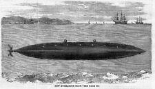 New Submarine Boat - Antique Print 1859