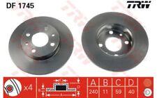 2x TRW Discos de freno delanteros Pleno 240mm Para FIAT CINQUECENTO 500 DF1745