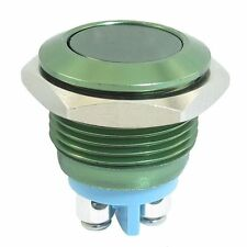 16mm GREEN Anti-Vandal Momentary Stainless Steel Metal Push Button Switch Flat