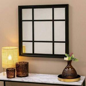 BLACK ENCHANTED WINDOW STYLE WALL MIRROR MANTEL HALLWAY SQUARE 61X61Cm