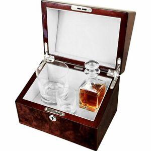 Mini Decanter , Crystal Whisky Tumbler and Shot Glass Set in English Walnut Box