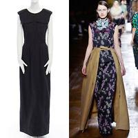 DRIES VAN NOTEN Dresda black washed cotton utility maxi dress FR38 US6 UK10 M