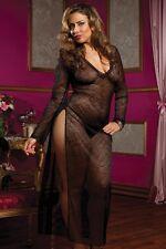 Plus Queen Size Lingerie Long Sleeve Dress Thigh Slit (Black) Babydoll 2X XXL