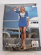 Plus Size 3X/4X Women's Blue Stewardess Flying Costume Halloween Party Sexy