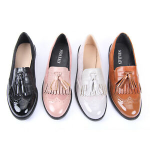 WOMENS LADIES FASHION TASSEL DROP SLIP ON FORMAL CASUAL COMFORTABLE LOAFER SHOES