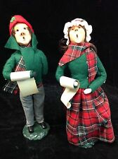 Byers Choice Man and Woman Green and Plaid Clothes with Song Sheets 1983