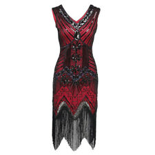 Women's 1920's V Neck Flapper Dress Beaded Sequin Fringed Vintage Gatsby Dress