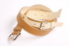 Trendy Donna Street Style Ginger & Beige Doppio Strato Cintura Borchie Oro W (S344)
