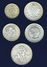 MEXICO 1935 50 CENTAVOS, 1934,1948 PESO, 1978 100 PESOS SILVER COINS, LOT OF (5)