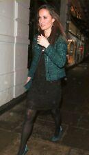 RARE Checked Pattern Sandro Vertige Green Black Wool Tweed fripée Blazer Jacket