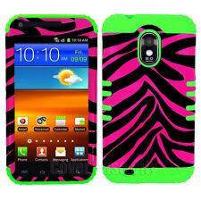 Green Silicone Pink Zebra Hybrid Case Cover Samsung Galaxy S 2 R760 US Cellular