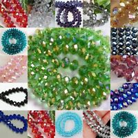 15 Color Faceted Rondelle Bicone Glass Crystal Jewelley Loose Beads 6mm 8mm 4mm