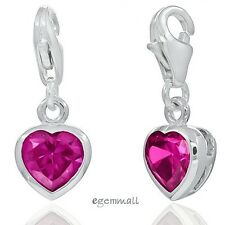 1PC Sterling Silver Small Heart Clip On European Charm with CZ Ruby Red #94254