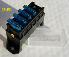 12 VOLT 6 WAY FUSE BLOCK WITH 4 X 15 amp AUTOMOTIVE BLADE FUSES BRAND NEW