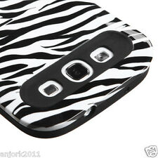 Samsung Galaxy S3 i9300 Hybrid Hard Case Skin Pastel Cover White Zebra Black