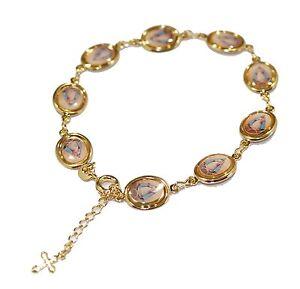 Caridad del Cobre Medal Bracelet with Cross 18k Gold Plated Adjustable Bracelet