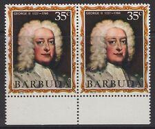 """Barbuda SG74var 1971 35 C George II montrant """"rouge taupe à côté de bouche"""" neuf sans charnière"""