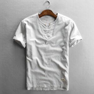 Cotton Linen T-Shirts For Men Short Sleeve Solid V-neck Casual Tops Men TS725