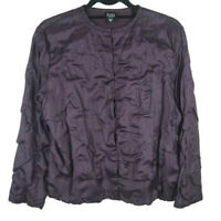Eileen Fisher Crinkle 100% Silk W/ Cotton Lining Shirt Top Size Medium Petite PM