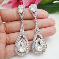 Fashion Jewelry Wedding Bride Teardrop Clear Austrian Crystal Dangle Earrings