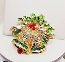 Multi Color Crystal Christmas Bells Holly & Bow Movable Gold Tone Pin/Pendant