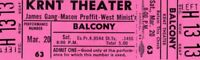 JAMES GANG~JOE WALSH 1971 THIRDS TOUR KRNT UNUSED PINK CONCERT TICKET-NM~MINT