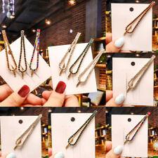 Womens Girls Geometric Rhinestone Metal Hair Clips Barrette Slide Grips Hairpins