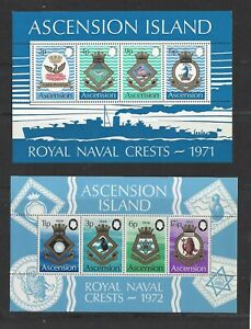 ASCENSION -155a-159a S/S - MNH - 1971-72 - COATS OF ARMS - ROYAL NAVY SHIPS