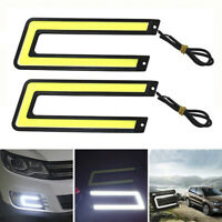 1PC U-Shaped 12V LED COB Car Auto DRL Driving Daytime Running Lamp Fog Light Cw