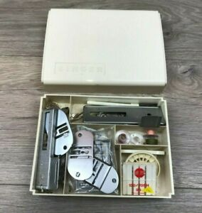 Vintage Singer Sewing Machine Parts Box with Various Parts