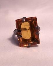 Vintage Art Deco Sterling Citrine  color stone ring