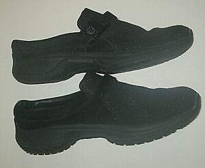 MERRELL ENCORE BREEZE BLACK WOOL LEATHER MULES CLOGS SHOES WOMENS SIZE 40 9