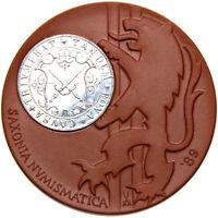 Meissen SAXONIA NUMISMATICA Metallapplikation Porzellan-Medaille 1989 - 64,5 mm
