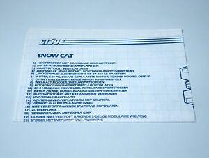 1985 GI JOE SNOW CAT SPARE BLUEPRINT INSTRUCTIONS - HASBRO NL DUTCH