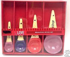 Ceramic Measuring Spoons Set Ice Cream Cones Decorative 4pc New In Box