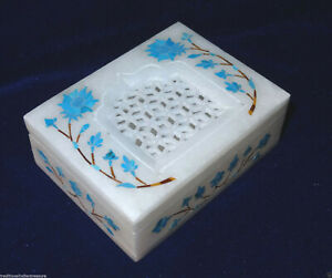 "4""x3""x1.25"" White Marble Jewelry Box Turquoise Inlay Filigree Design Gift Decor"