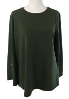 NWT ANN TAYLOR Olive Green Polyester Bell Sleeve Top Women's Size L