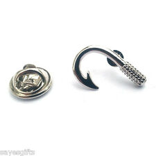 High Quality Rhodium Plated Fishing Hook Lapel Pin Badge