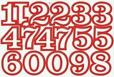 PLANCHE A4 TUNING QUAD 17 AUTOCOLLANT CHIFFRE BLANC ET ROUGE 5,5 X 4 CMS